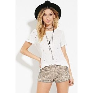 Forever 21 Women's Floral Beaded Mesh Shorts